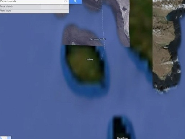 Google Earth has blurred out  these section of the Faroe Islands